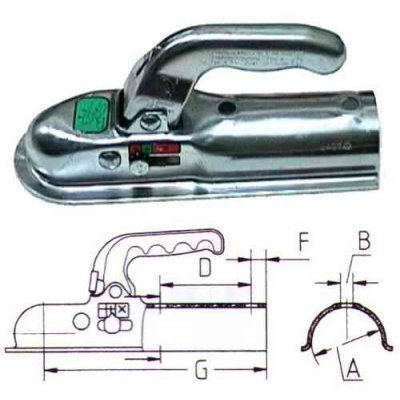 Kroglična sklopka priklop za prikolico okrogla 70mm 800Kg Krogljične sklopke Knott 19.69