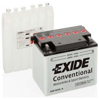 Akumulator Exide E60-N24L-A 28Ah D+ 280A(EN) 169x124x184 Y60-N24L-A Akumulatorji Exide 56.02