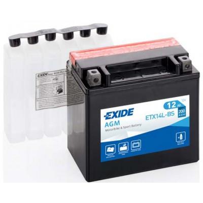 Akumulator Exide ETX14L-BS D+ 12Ah 200A(EN) 150x87x145 YTX14L-BS Akumulatorji Exide 50.22